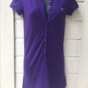 Lacoste purple multi button polo dress